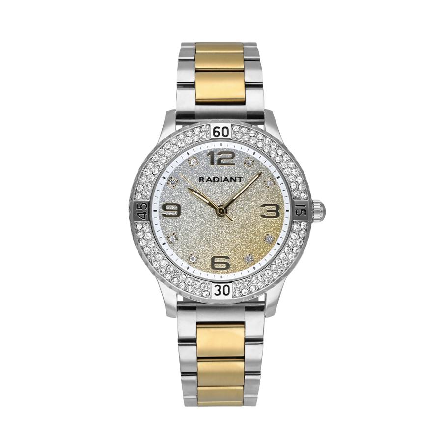 Reloj Radiant Frozen Mujer RA564203 Acero con esfera multicolor dorado y plata con glitz y bisel decorado con cristales