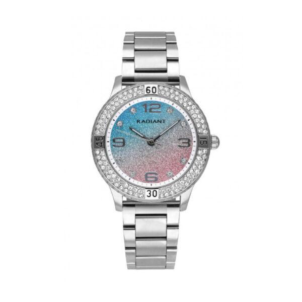 Reloj Radiant Frozen Mujer RA564204 Acero con esfera multicolor rosa y azul con glitz y bisel decorado con cristales