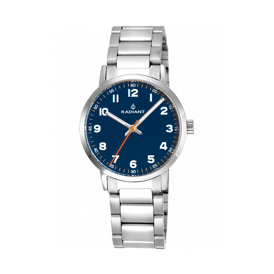 Reloj Radiant Funtime Hombre RA448202 Acero con esfera azul y detalles en naranja