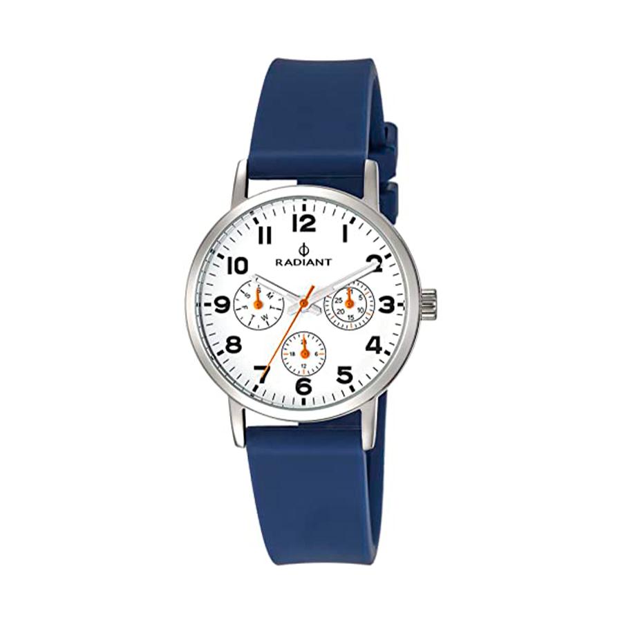 Reloj Radiant Funtime Hombre RA448703 Acero con esfera blanca y detalles en naranja con correa caucho azul