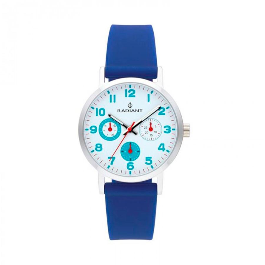 Reloj Radiant Funtime Hombre RA448709 Acero con esfera blanca y detalles azul y rojo con calendario