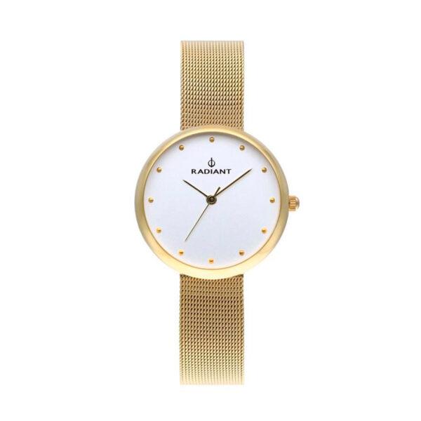 Reloj Radiant Gimli Mujer RA523601 Acero dorado con esfera blanca y correa malla milanesa dorada
