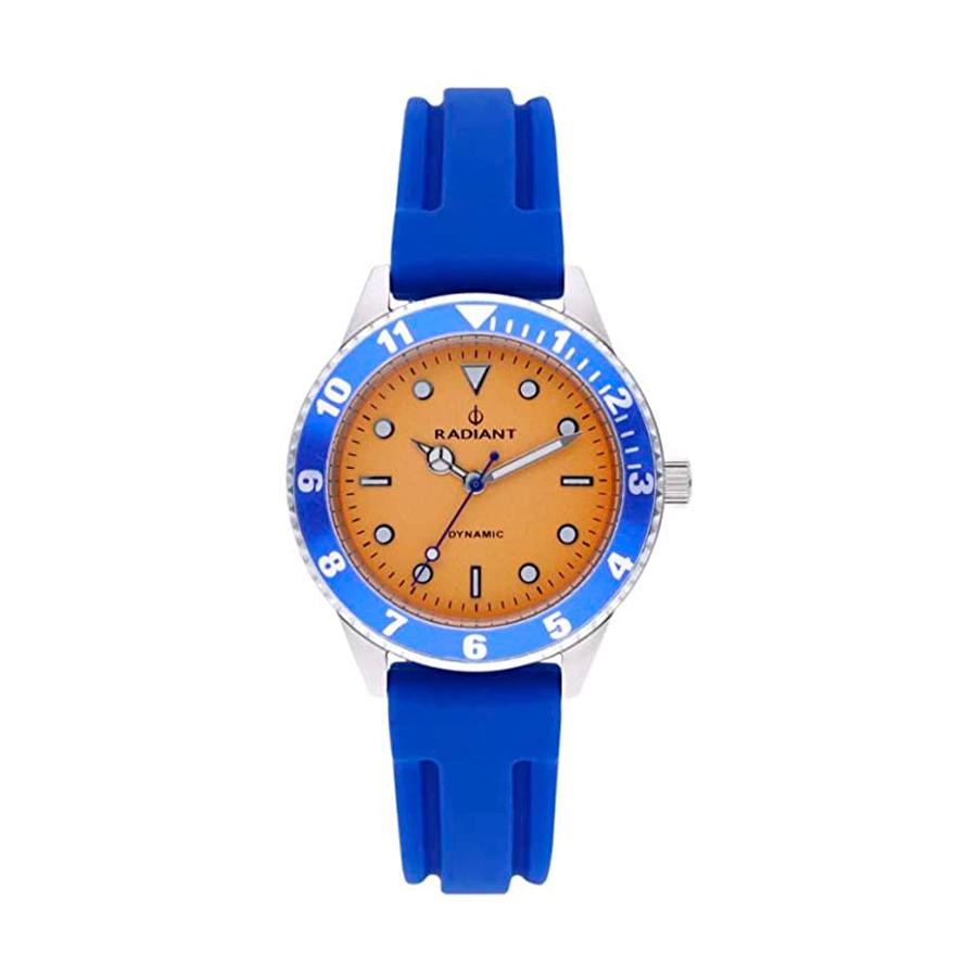 Reloj Radiant Giulio Hombre RA502601 Acero con esfera naranja y bisel azul con correa caucho azul