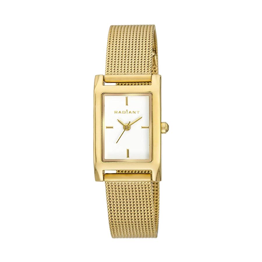 Reloj Radiant Goldbar Mujer RA464202 Acero dorado con esfera blanca y correa malla milanesa dorada