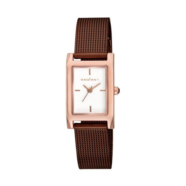 Reloj Radiant Goldbar Mujer RA464204 Acero rosado con esfera blanca y correa malla milanesa marrón