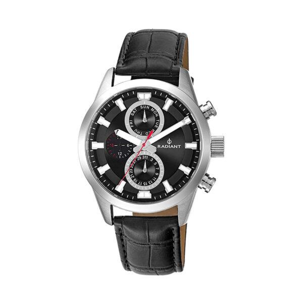 Reloj Radiant Guardian Hombre RA479705 Acero con esfera negra con correa piel marrón
