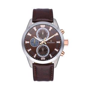 Reloj Radiant Guardian Hombre RA479709 Acero con esfera marrón y detalles rosados con correa piel marrón