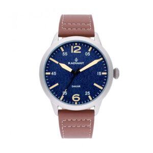 Reloj Radiant Harald Hombre RA504602 Acero gris con esfera azul y correa piel marrón