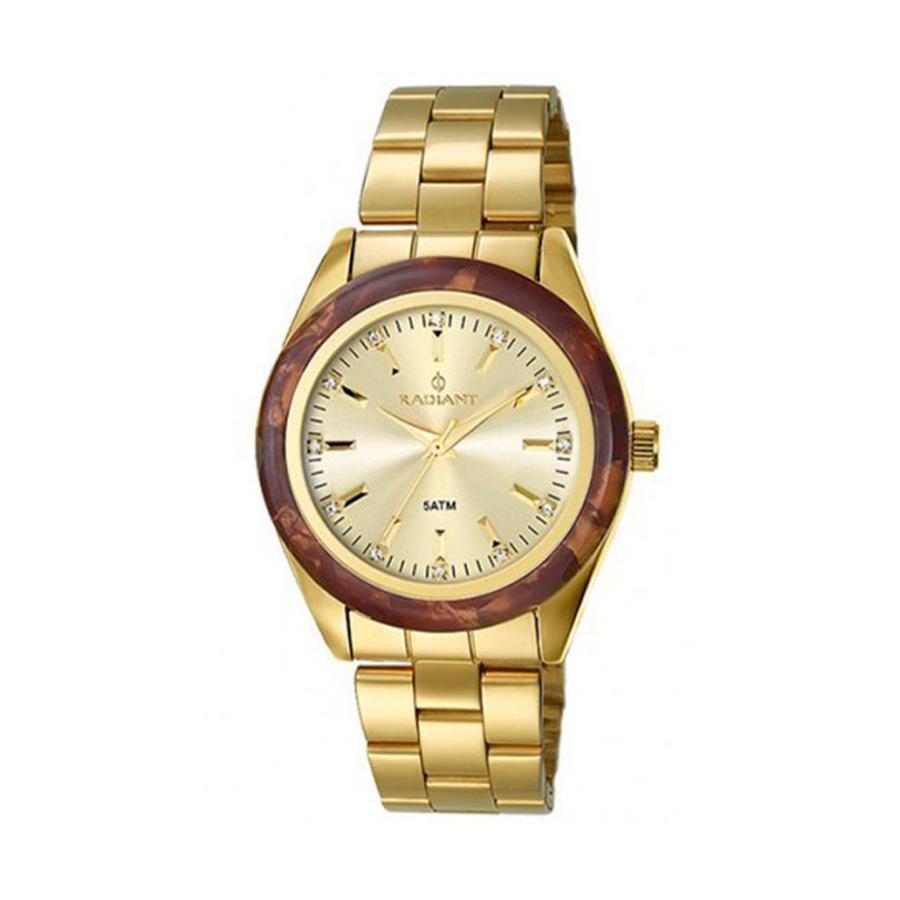 Reloj Radiant Honey Mujer RA196203 Acero dorado con bisel resina y ornamentado con cristales en cada índice