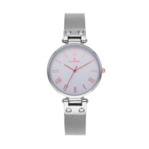 Reloj Radiant Juliana Mujer RA495601 Acero esfera blanca detalles rosados y correa malla milanesa plata