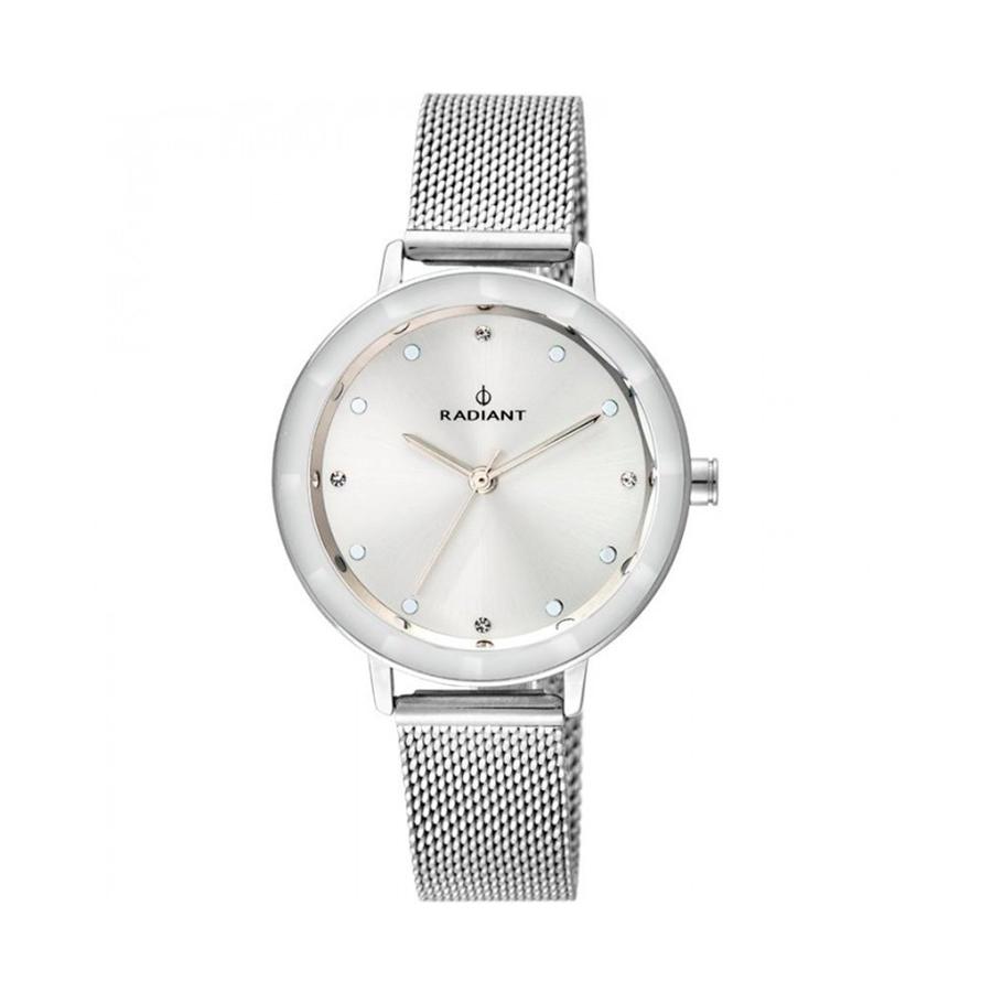 Reloj Radiant Katrine Mujer RA467601 Acero esfera plata con cristal efecto bisel y ornamentada con 4 cristales con correa malla milanesa plata