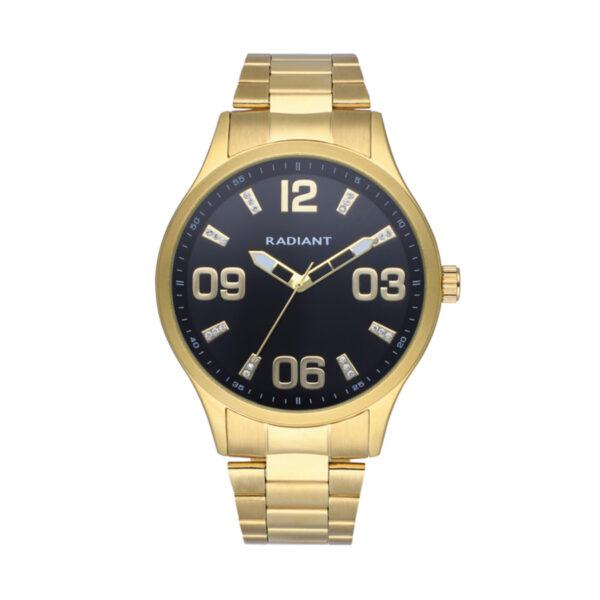 Reloj Radiant Leader Hombre RA563202 Acero dorado con esfera negra ornamentada con cristales