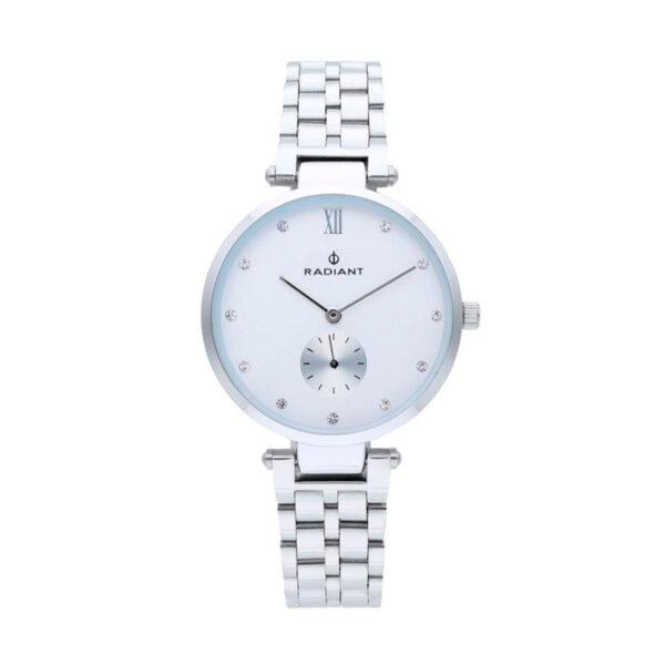 Reloj Radiant Mae Mujer RA469201 Acero esfera blanca ornamentada con cristales como índices y un segundo dial en plata