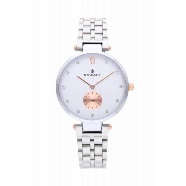 Reloj Radiant Mae Mujer RA469203 Acero esfera blanca ornamentada con cristales como índices y un segundo dial en rosado