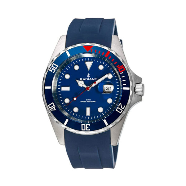 Reloj Radiant Navy Steel Hombre RA410602 Acero esfera azul y bisel azul con correa silicona azul