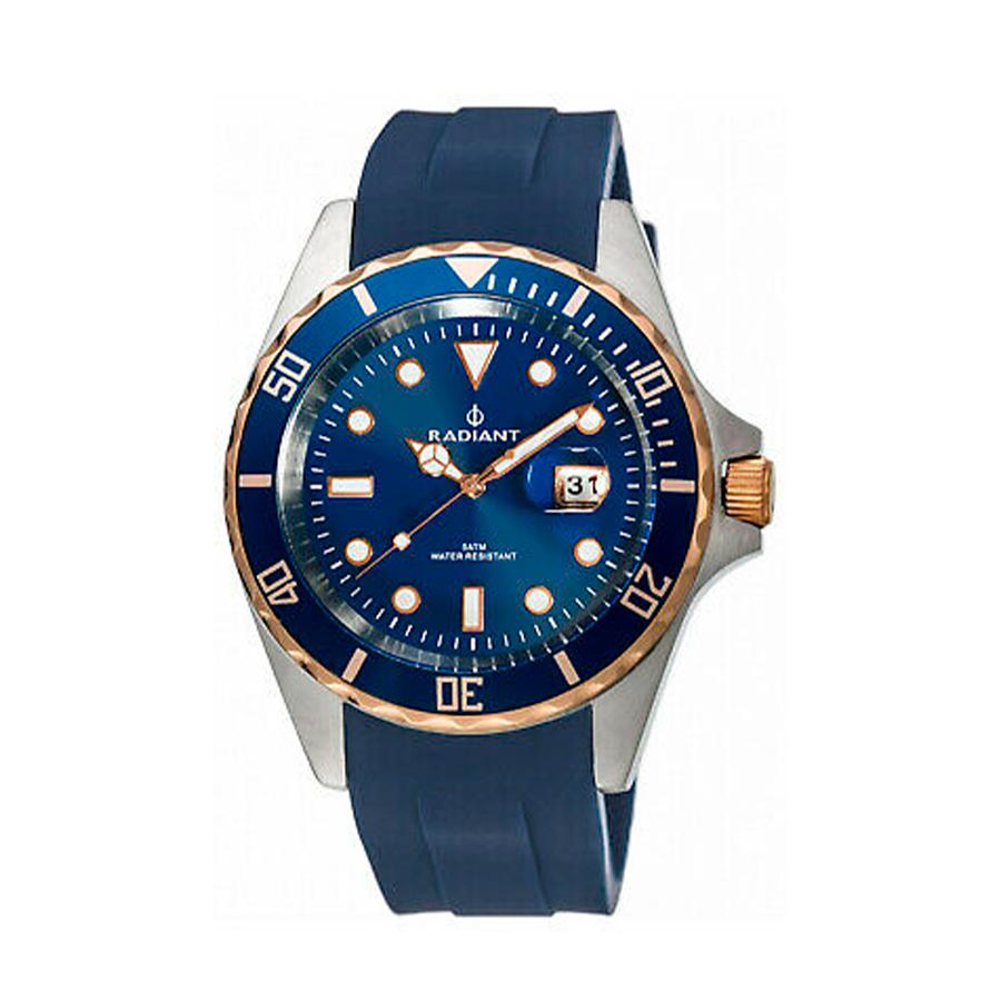 Reloj Radiant Navy Steel Hombre RA410603 Acero esfera azul y bisel azul con detalles rosados incluida corona