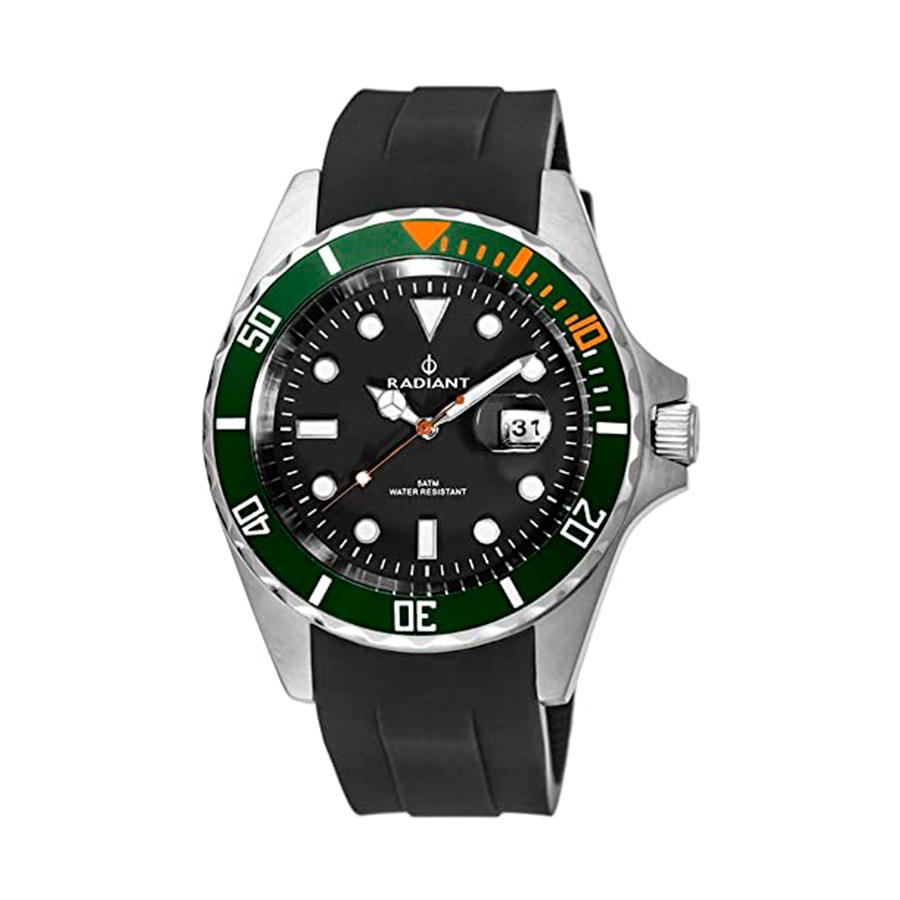 Reloj Radiant Navy Steel Hombre RA410604 Acero esfera negra y bisel verde con correa silicona negra