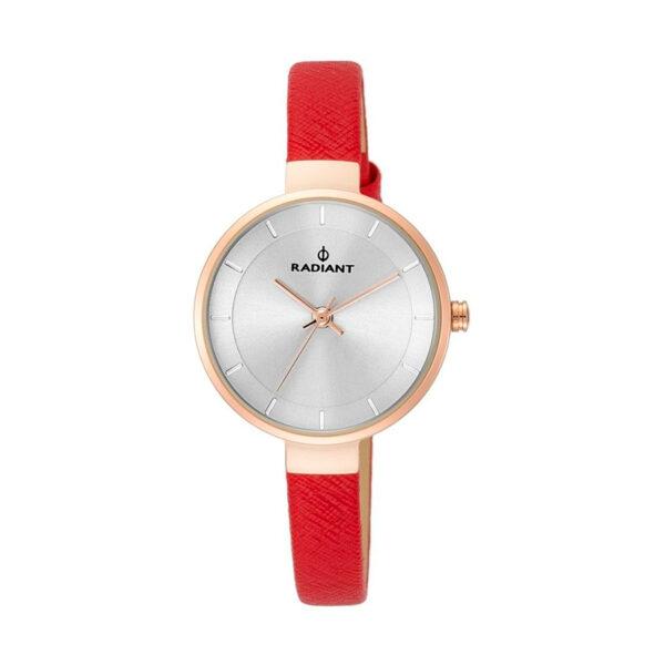 Reloj Radiant North Star Mujer RA455205 Acero rosado esfera plata y correa piel rojo