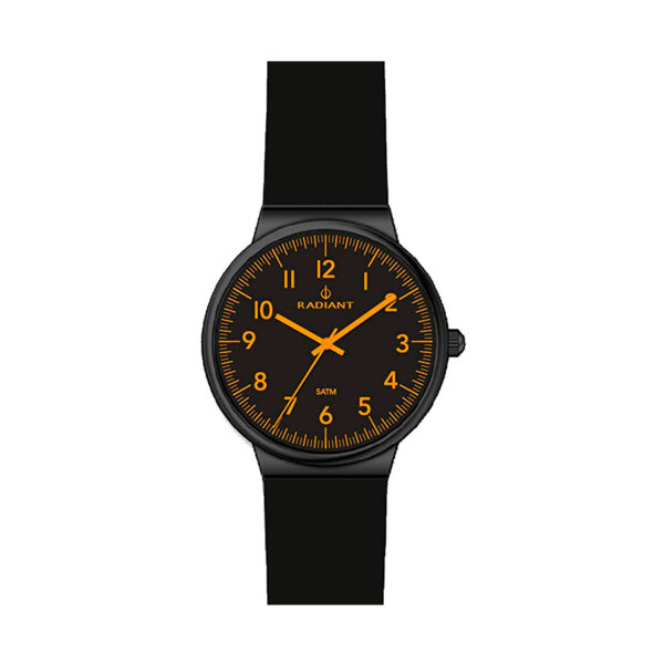 Reloj Radiant Northway Large Hombre RA403210 Esfera negra con detalles naranjas y caucho negro