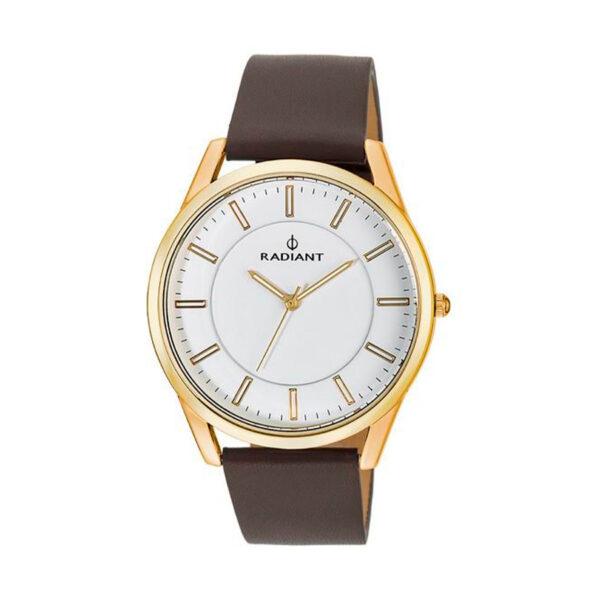 Reloj Radiant Nothtime Hombre RA407602 Acero dorado con esfera blanca y correa piel marrón