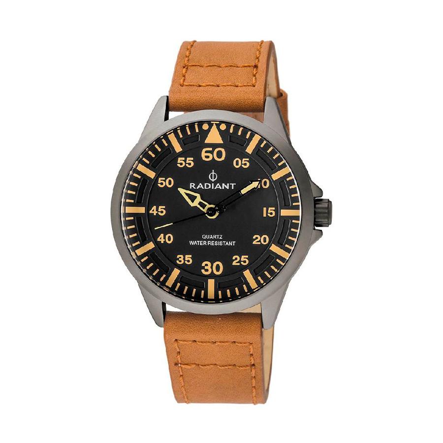 Reloj Radiant Oakwell Hombre RA476602 Acero gris mate con esfera negra y correa piel marrón