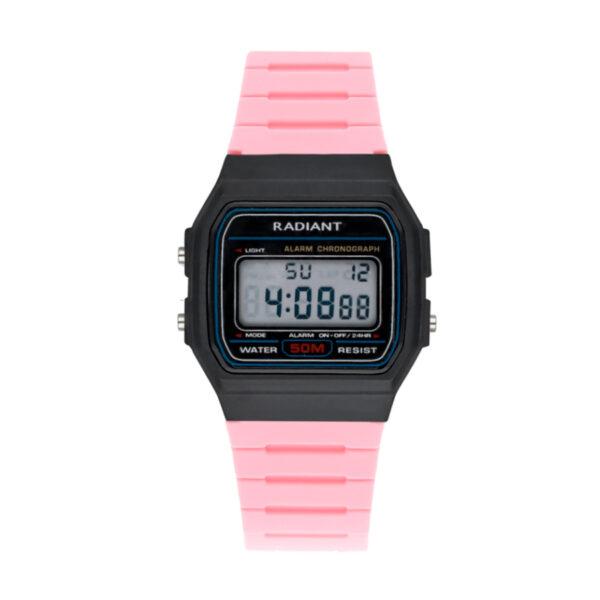 Reloj Radiant Osiac Unisex RA561604 Caja resina negra y correa caucho rosa