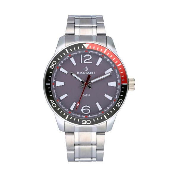 Reloj Radiant Ovi Hombre RA534203 Acero esfera gris y bisel negro y rojo