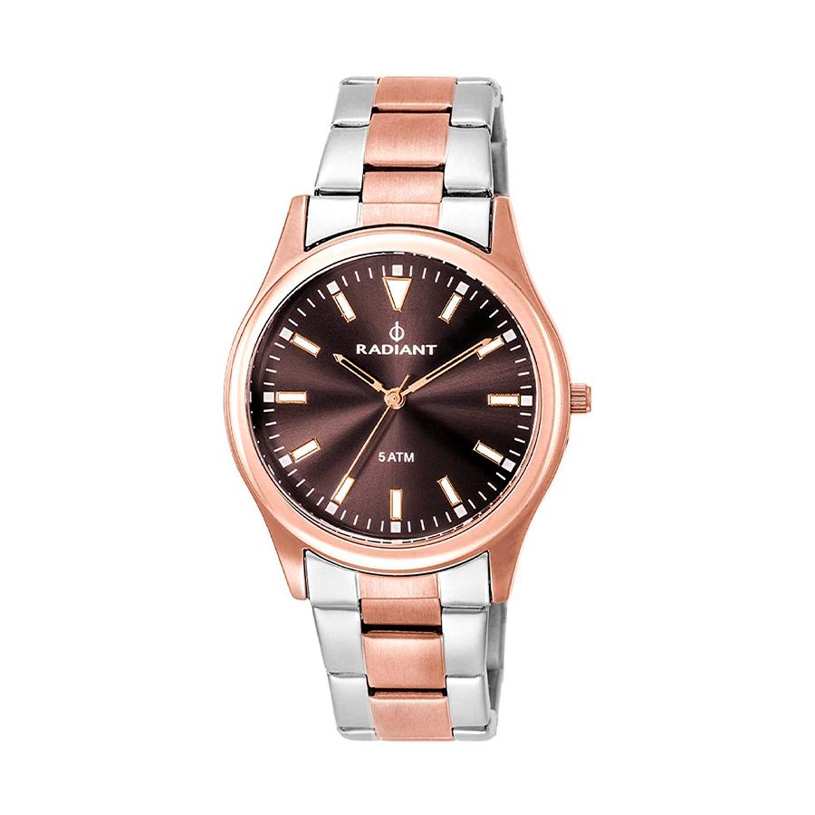 Reloj Radiant Rapsody Mujer RA393203 Acero bicolor rosado y plata con esfera marrón