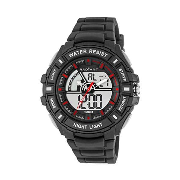 Reloj Radiant Rush Hombre RA438601 Deportivo analógico y digital con esfera negra y detalles rojos con correa caucho negro