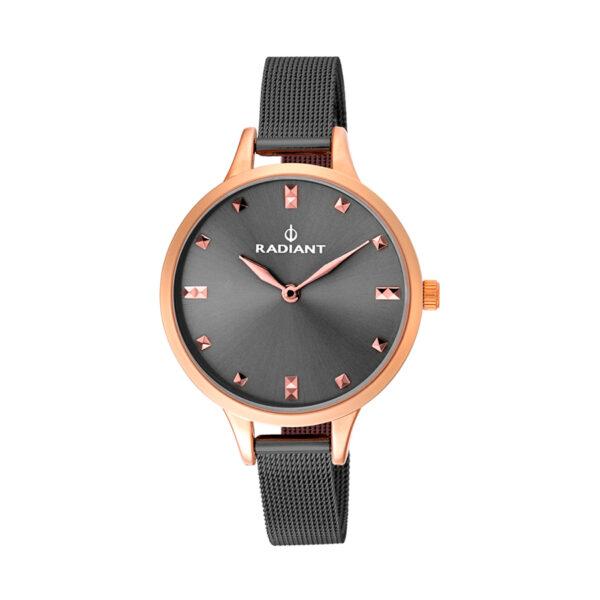 Reloj Radiant Show Mujer RA474603 Acero rosado con correa malla milanesa gris