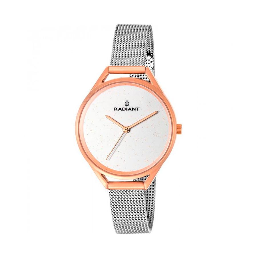 Reloj Radiant Starlight Mujer RA432203 Acero rosado con esfera blanca y correa malla milanesa acero
