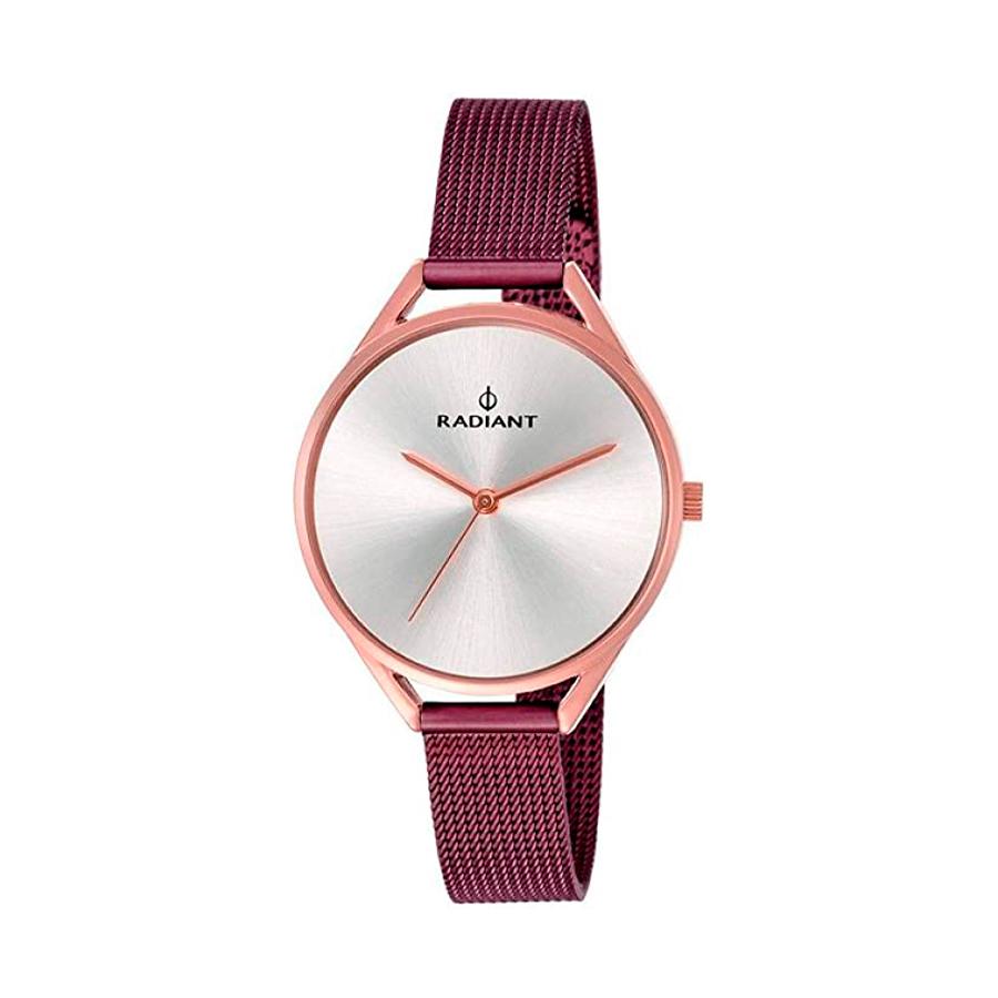 Reloj Radiant Starlight Mujer RA432209 Acero rosado con esfera plata y correa malla milanesa granate