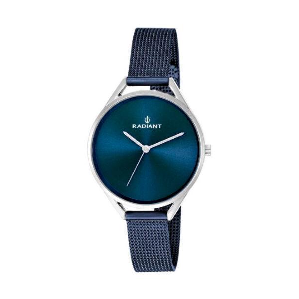 Reloj Radiant Starlight Mujer RA432212 Acero con esfera plata y correa malla milanesa azul