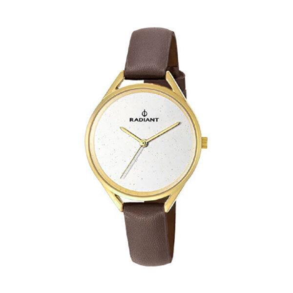 Reloj Radiant Starlight Mujer RA432601 Acero dorado con esfera blanca y correa piel marrón