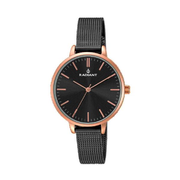 Reloj Radiant Style Mujer RA433602 Acero rosado con esfera negra y correa malla milanesa negra