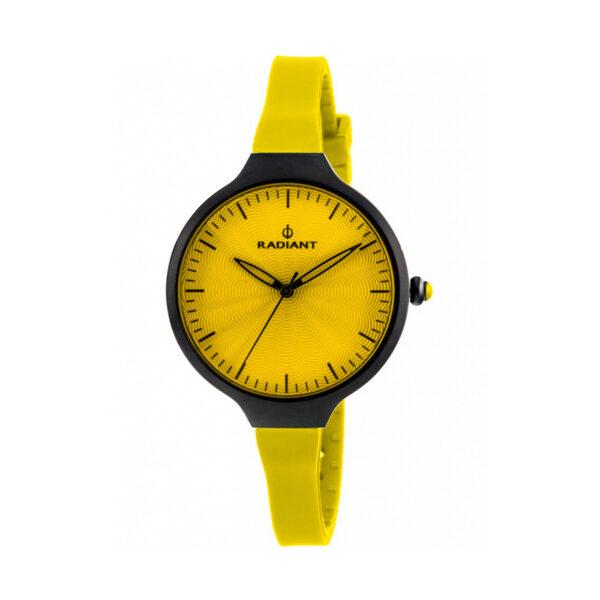 Reloj Radiant Sunny Mujer RA336613 Acero negro con esfera amarilla y correa de silicona amarilla