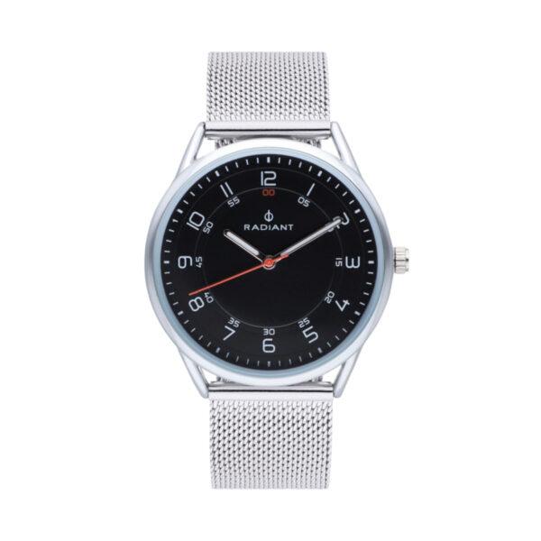 Reloj Radiant Taycan Unisex RA517601 Esfera acero negra con aguja en color rojo y correa malla milanesa acero