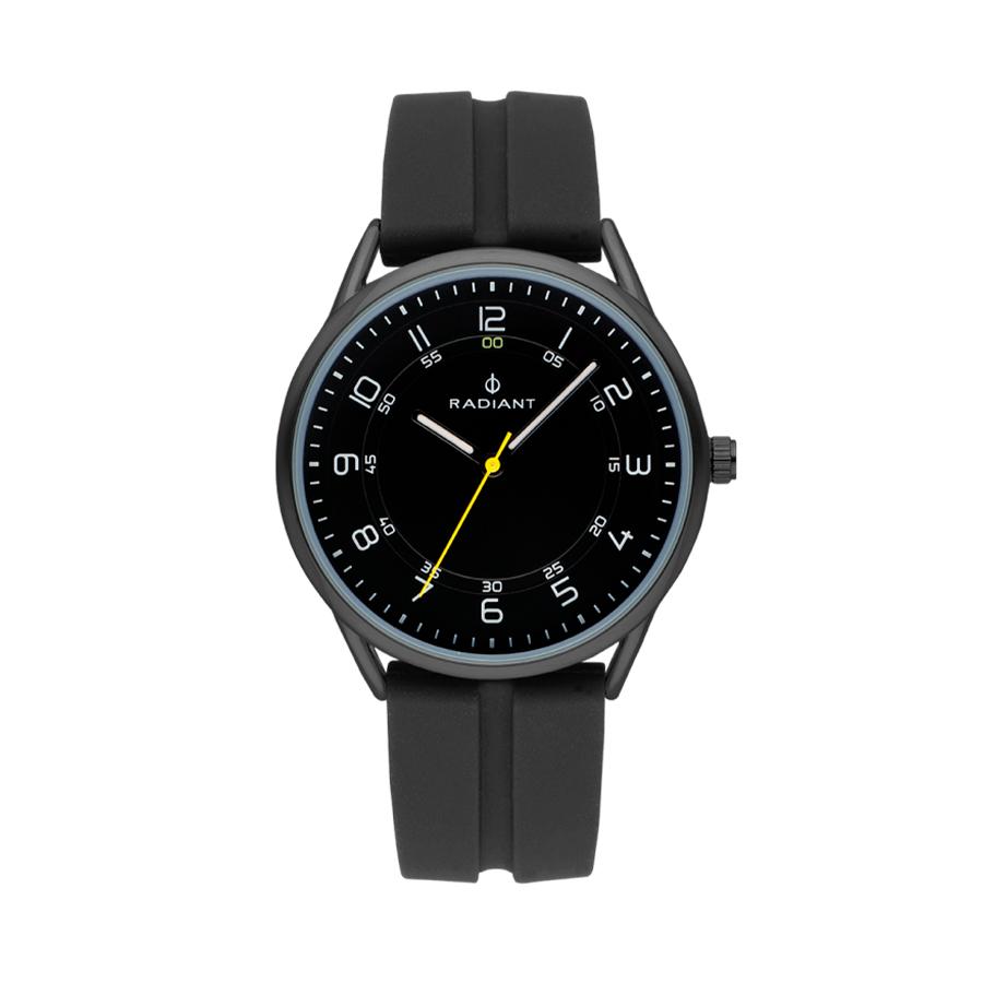 Reloj Radiant Taycan Unisex RA517604 Esfera acero negra con aguja en color amarillo y correa silicona negra