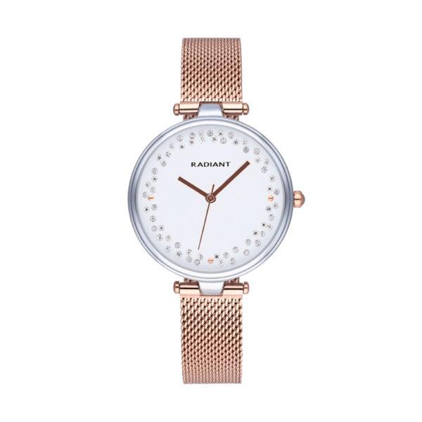 Reloj Radiant The Circle Mujer RA543203 Acero con esfera blanca ornamentada con cristales y correa malla milanesa rosada