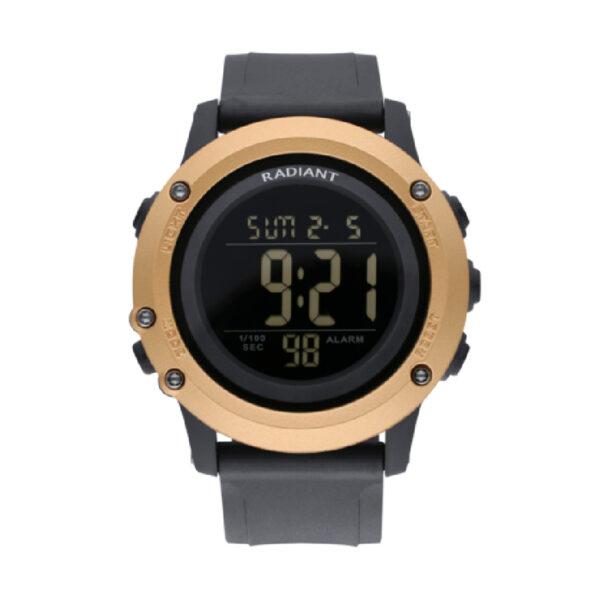 Reloj Radiant Tinu Hombre RA562602 Digital deportivo negro con bisel dorado