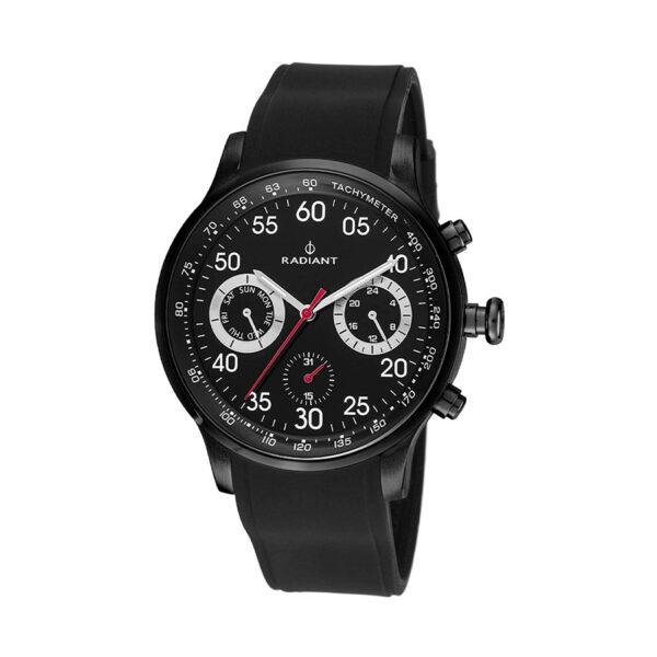 Reloj Radiant Tracking Hombre RA444601 Acero negro con esfera negra y detalles blancos y rojos