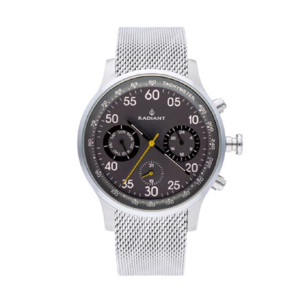 Reloj Radiant Tracking Hombre RA444604 Acero con esfera gris y detalles amarillos y negros con correa malla milanesa acero