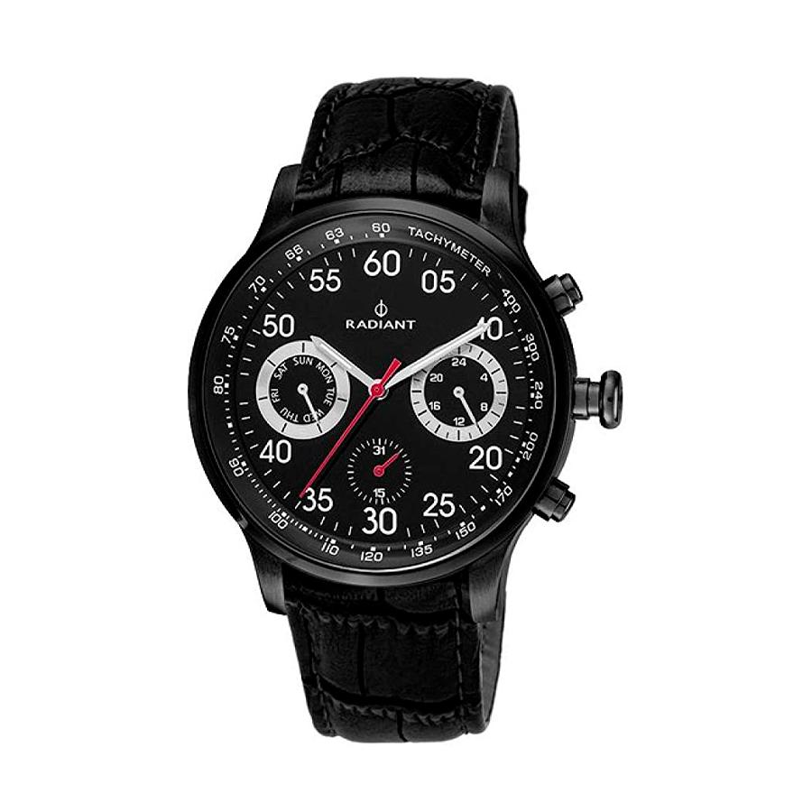 Reloj Radiant Tracking Hombre RA444606 Acero negro con esfera negra y detalles blancos y rojos con correa piel negra