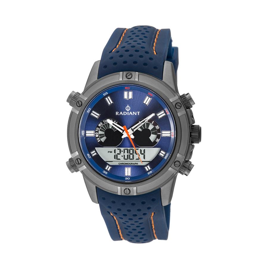 Reloj Radiant Walker Hombre RA483601 Diseño deportivo con esfera azul y detalles naranjas con correa caucho azul con pespunte naranja
