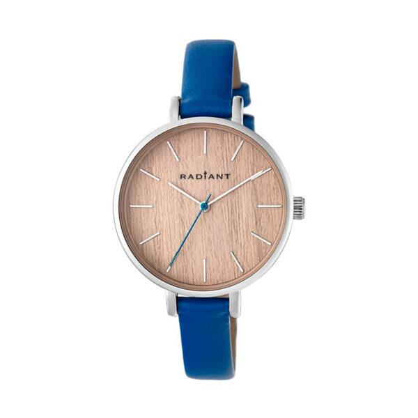 Reloj Radiant Wood Mujer RA430602 Acero plata con esfera efecto madera y correa piel azul