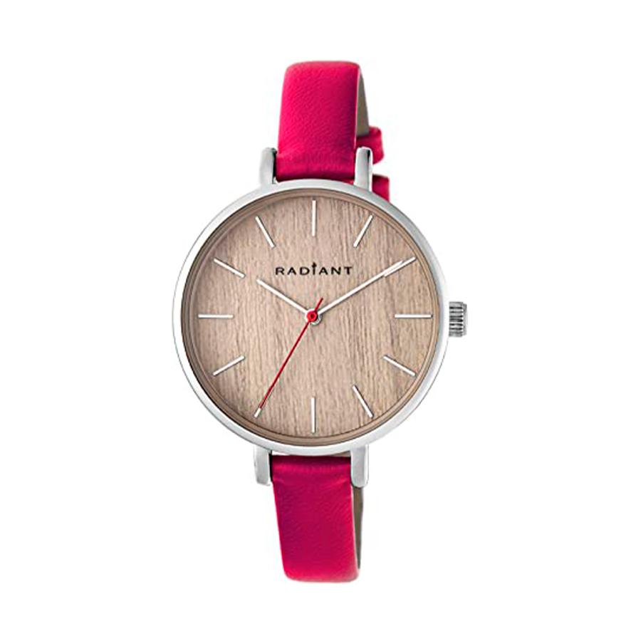 Reloj Radiant Wood Mujer RA430603 Acero plata con esfera efecto madera y correa piel fucsia