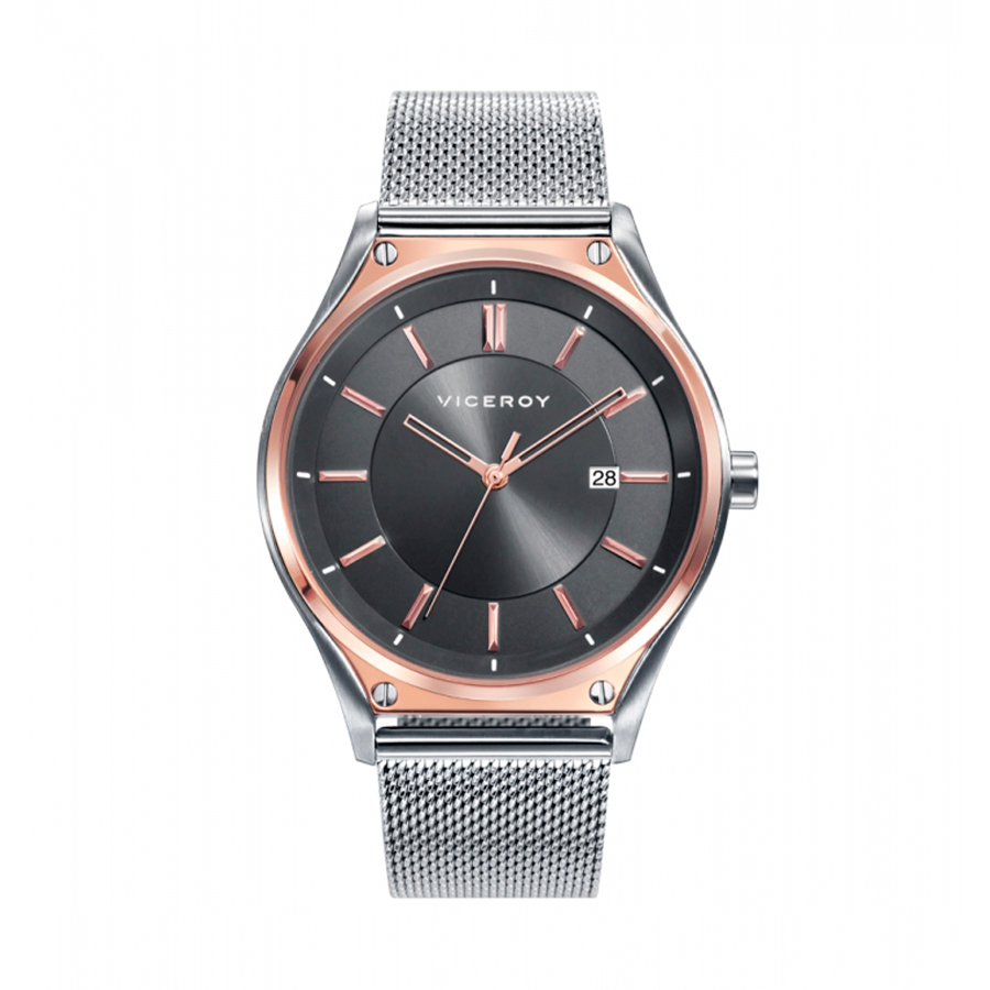 Reloj Viceroy Air Hombre 471181-17 Acero con esfera negra combinada con rosado y correa malla milanesa