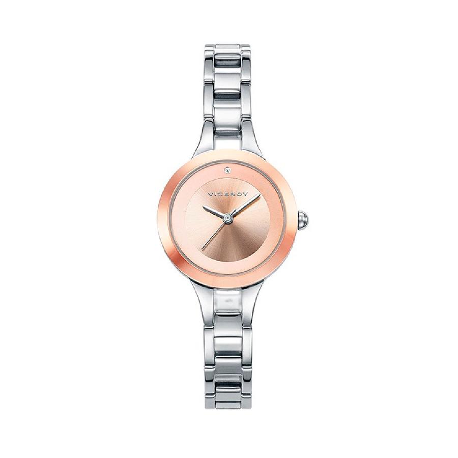 Reloj Viceroy Air Mujer 42256-95 Acero con esfera rosada y circonita incrustada en el índice de las 12 h.