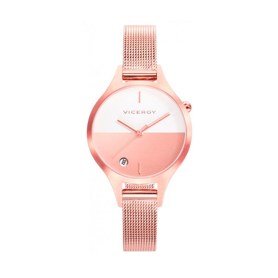 Reloj Viceroy Air Mujer 42328-97 Acero rosado esfera bicolor blano y rosa con Calendario y correa malla milanesa rosada