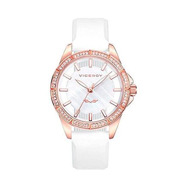 Reloj Viceroy Antonio Banderas  Mujer 401000-09 Acero rosado con esfera combinada nácar y transparente con circonitas en el bisel y correa silicona blanca